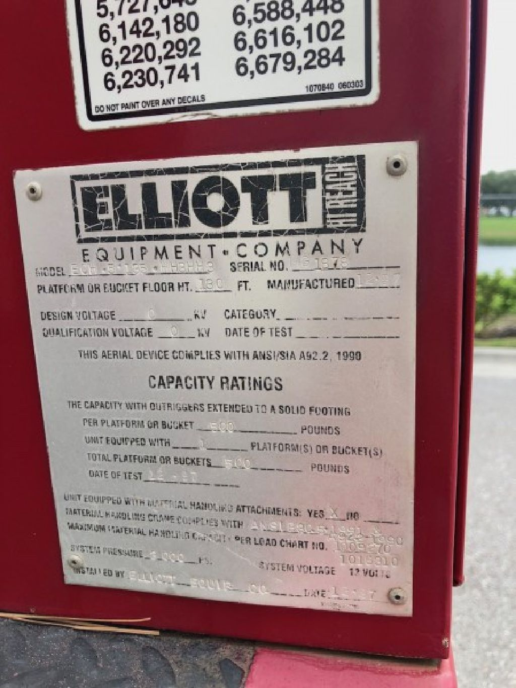 Sign Crane Installation Truck for Sale1998 Elliott 135R Mounted On a