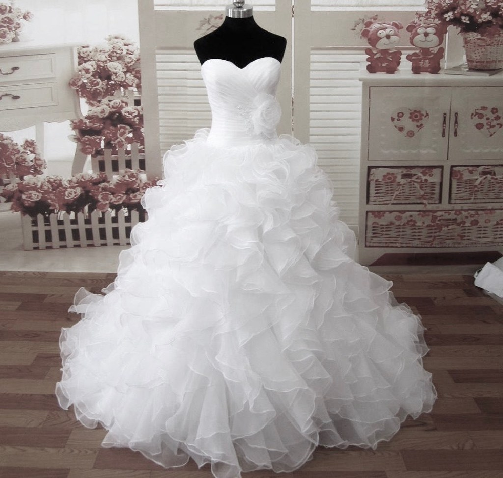 Janet39s organza ruffle a line wedding dress 575 tyler for Wedding dresses tyler tx