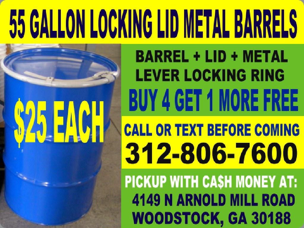 15 Atlanta Burn Barrel Barrels Drum Drums 55 Gallon Metal