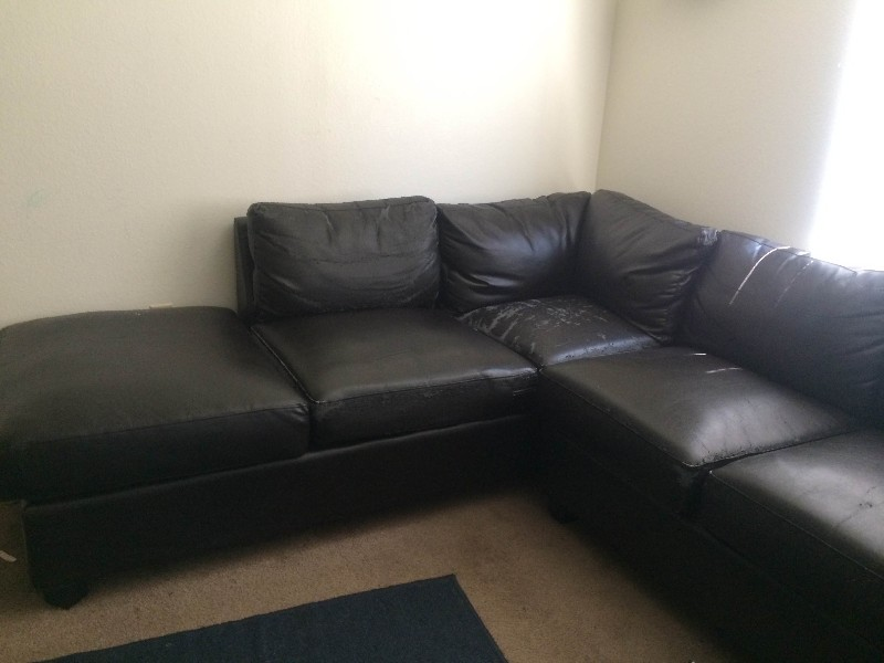 Excellent condition black leather sectional sofa for sale ...