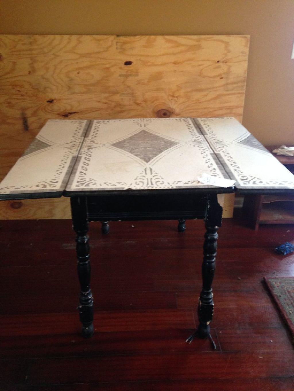 Vintage Enamel Top Table Claz Org