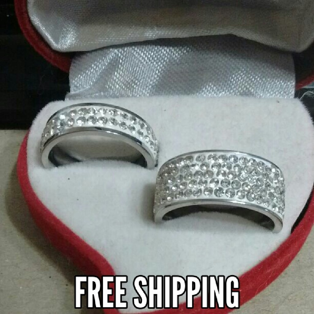 2pc Rhinestone Comfort Fit Band Ring Set Free Shipping