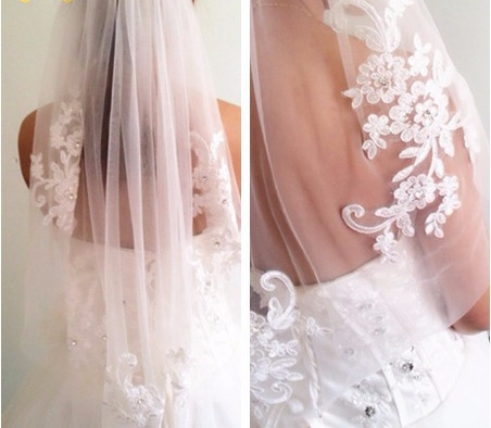 New Elegant White/Ivory Short Lace One Layer Wedding Bridal Veil