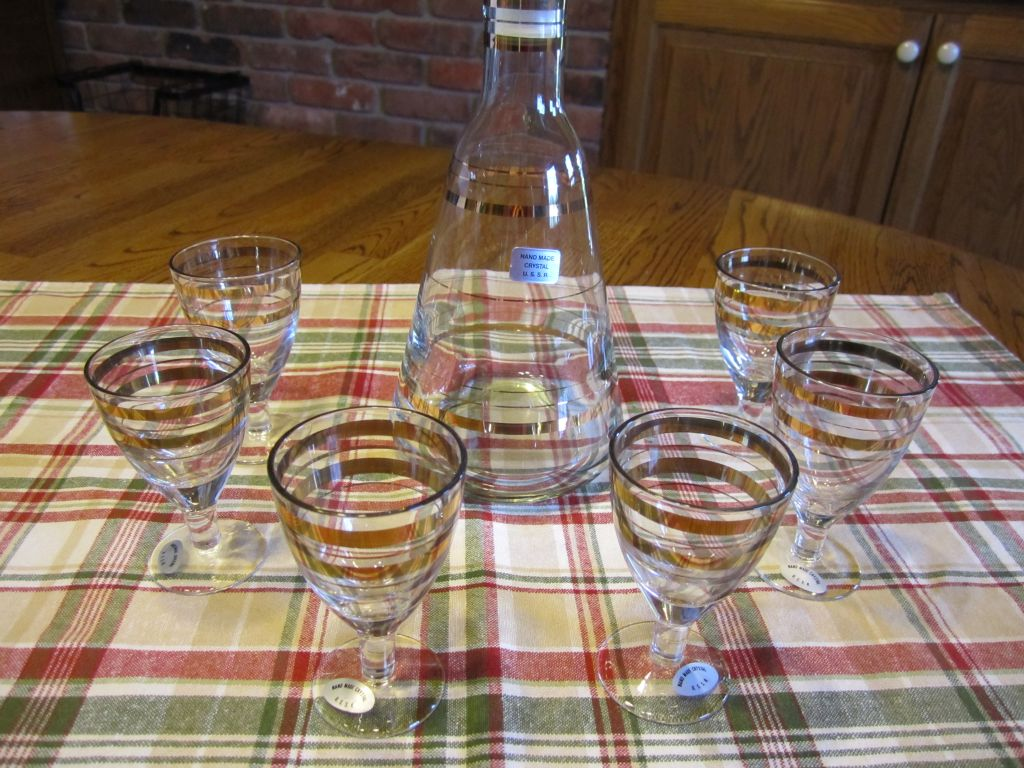 U.S.S.R (now Russia) A 7 piece Crystal Cordial Set  having 24 Karat Gold Accents NEW. $12