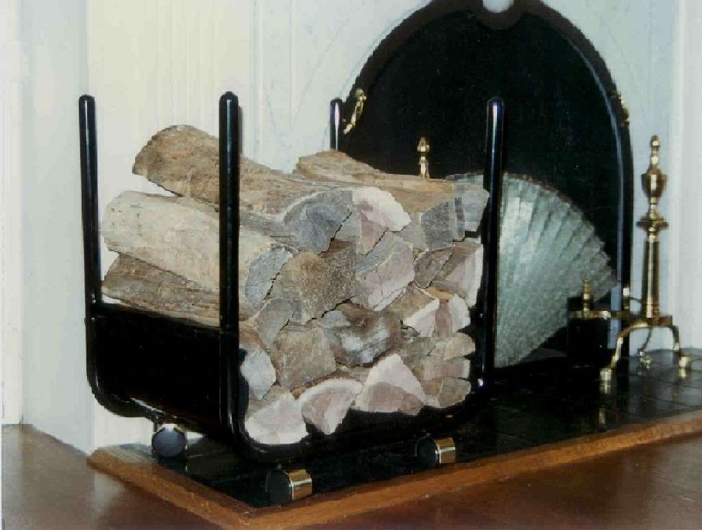 Fire place wood rack on wheels