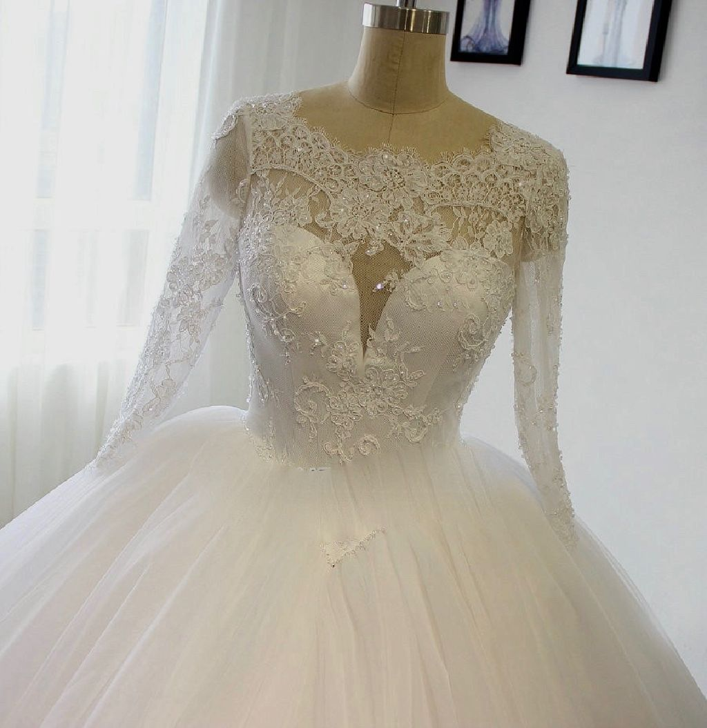 Mia's Tulle Applique A Line Wedding Gown
