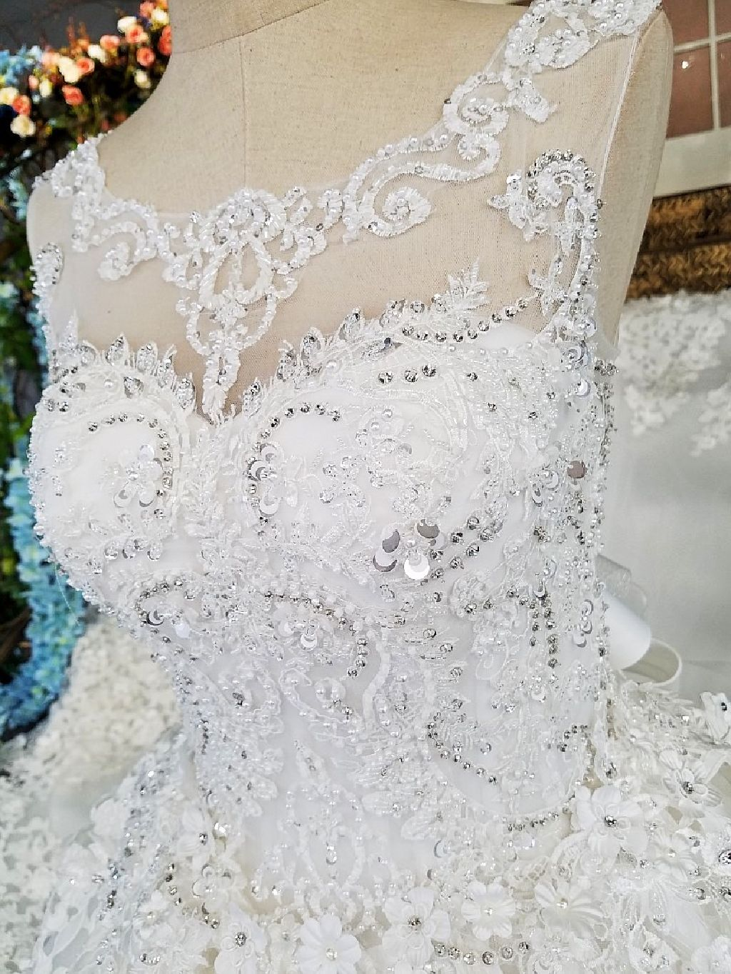 Marly's Princess Appliqué Wedding Gown With 3 Foot Train