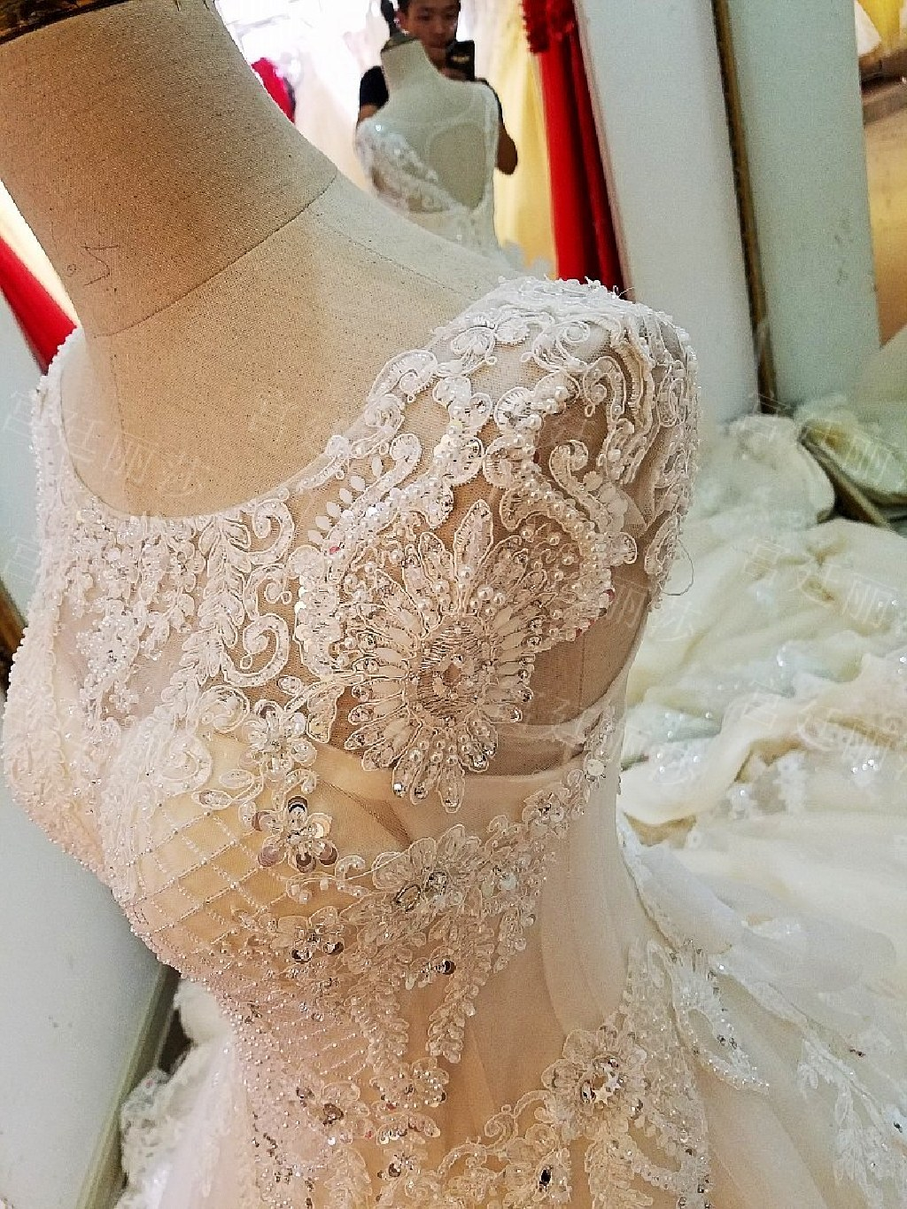 Olivia's A Line Lace Beading Wedding Gown
