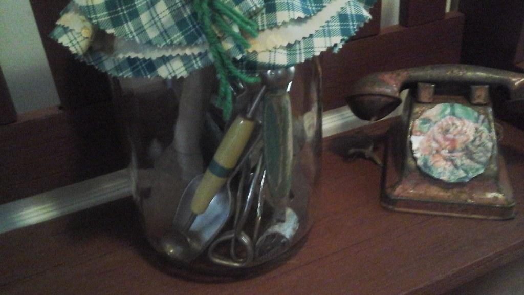 Vintage Pickle Mason Jar Filled w/Antique & Vintage Kitchen Utensils