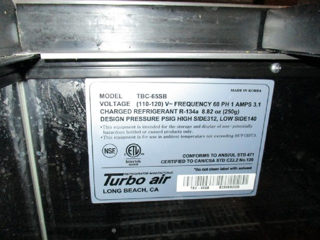 """Turbo Air 65"""" Forced Air Bottle Cooler 115v RTR# 7021663-01"""