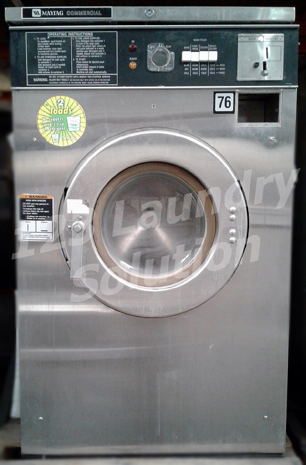 Coin Laundry Maytag Front Load Washer Coin Op 18LB AT18MC1 3PH Stainless Steel Used