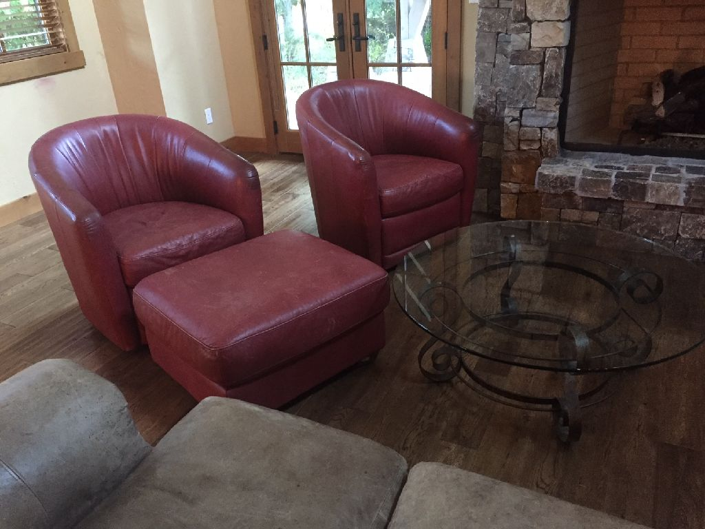 Red Leather Swivel Chairs and Ottoman