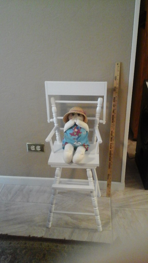 Handmade/Sewn baby doll in high chair