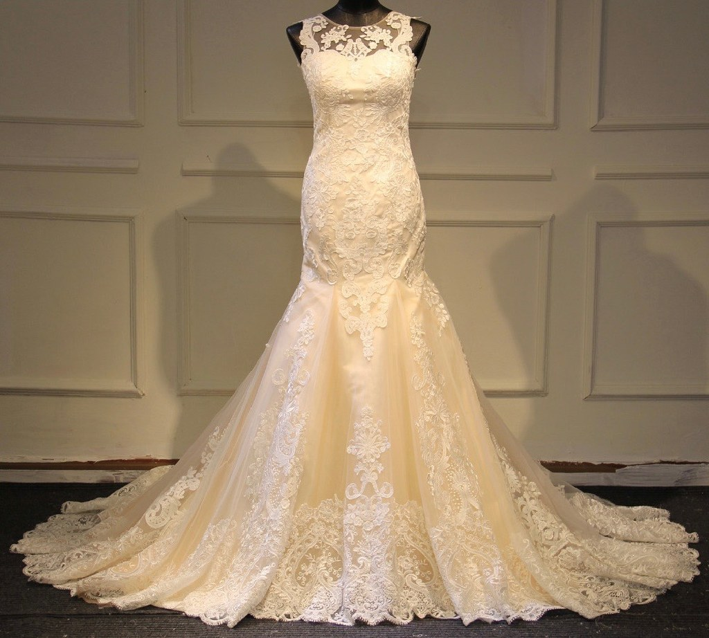 Suzanne's New Romantic Mermaid Lace Wedding Gown