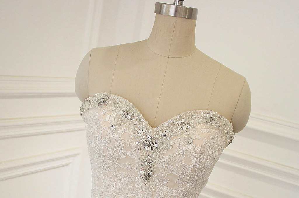 Becky's Mermaid Lace Strapless Wedding Gown