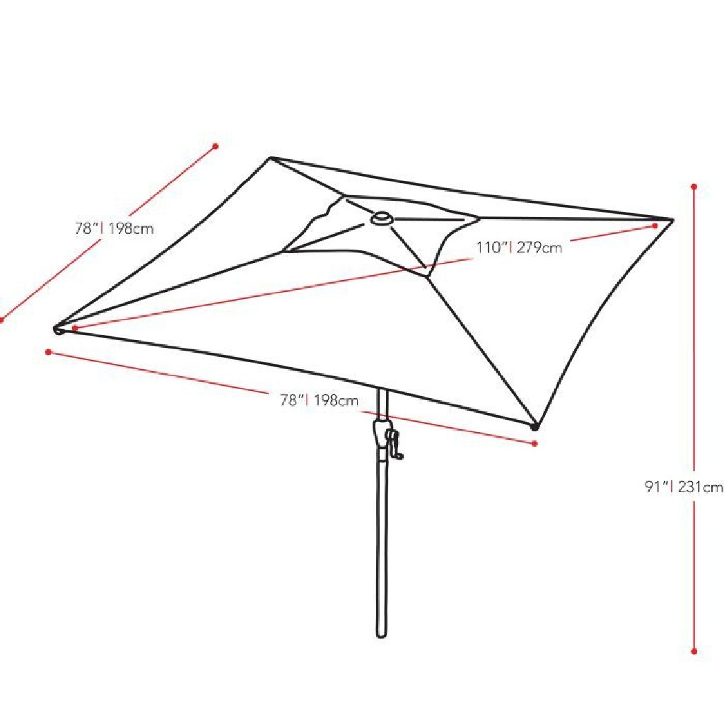 White Square Patio Umbrella