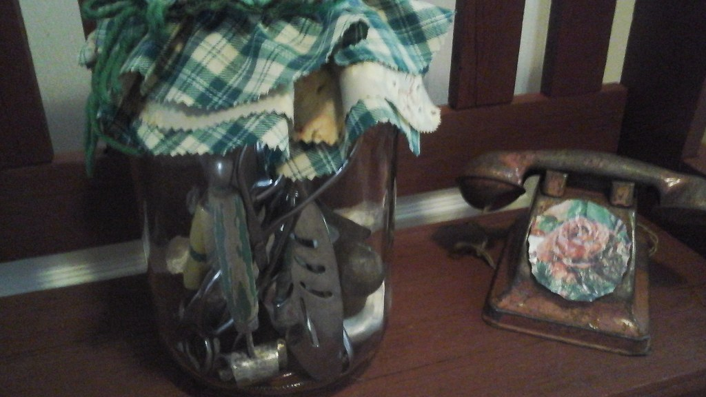 Vintage Pickle Mason Jar Filled w/Antique & Vintage Kitchen Utensils