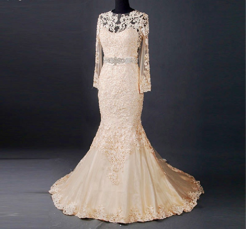 Maria's Mermaid Lace Long Sleeve Wedding Gown