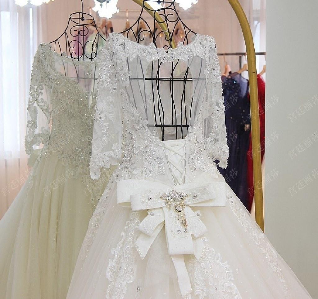 Samantha's Appliqué Beading A Line Wedding Dress Without Train