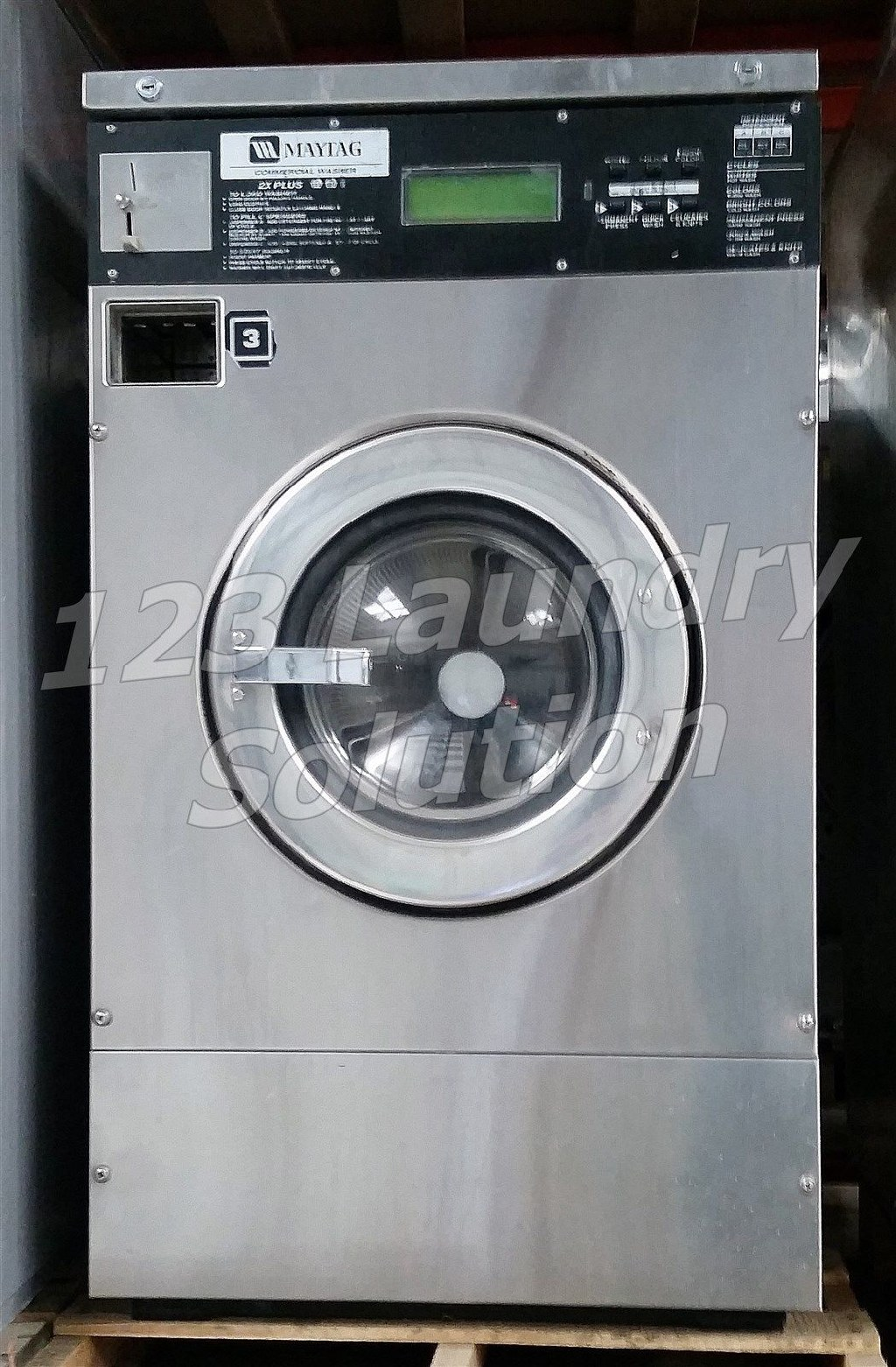 Fair Condition Maytag Front Load Washer 25LB MFR25PDCWS 110-120v Stainless Steel Used