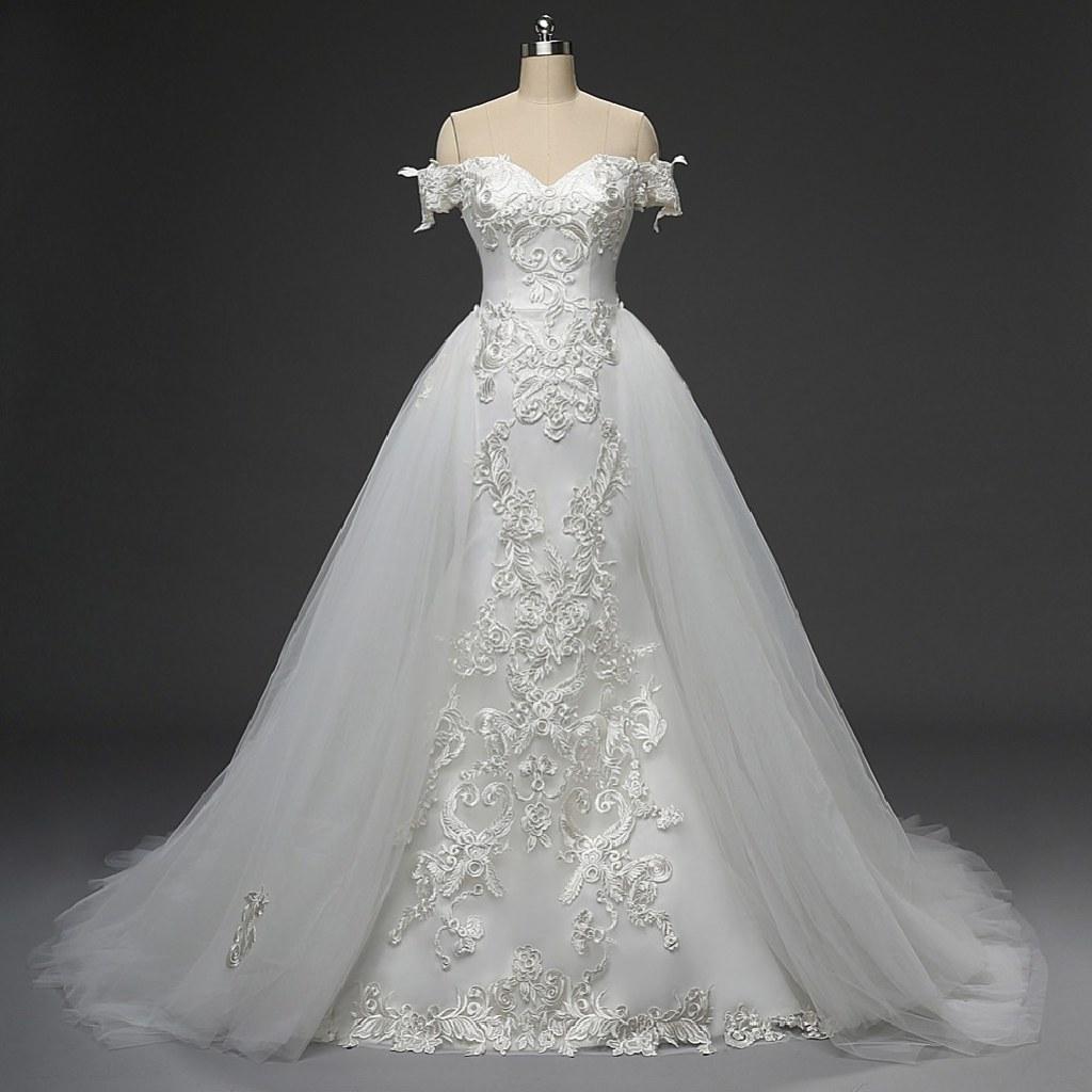 Vivian's Mermaid Lace Wedding Dress With Detachable Skirt