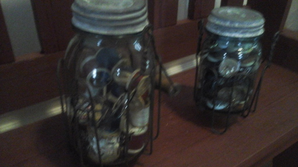Antique  Blue Ball Mason Jars  With Vintage Wire Jar Holders