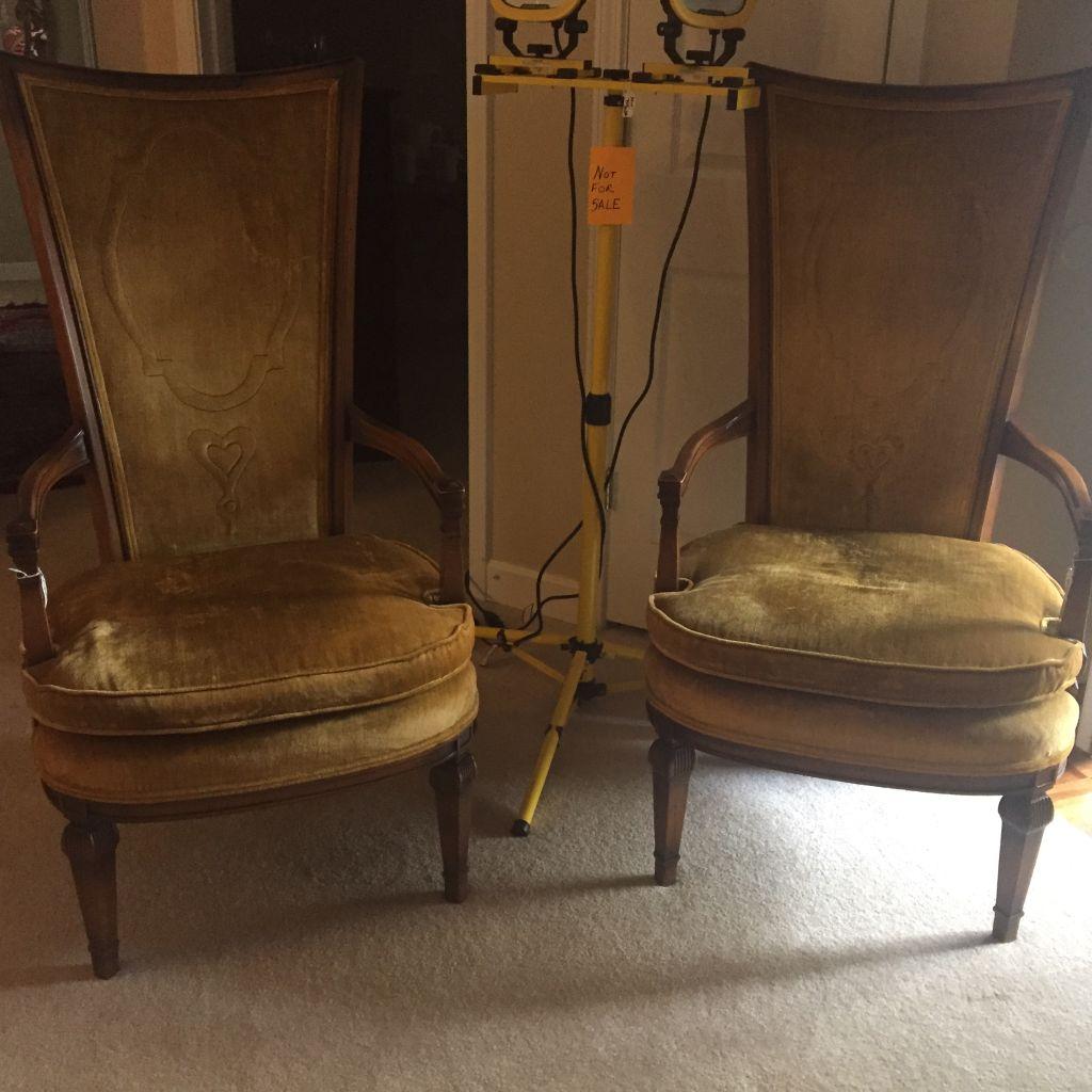 Antique Velvet High Back Chairs