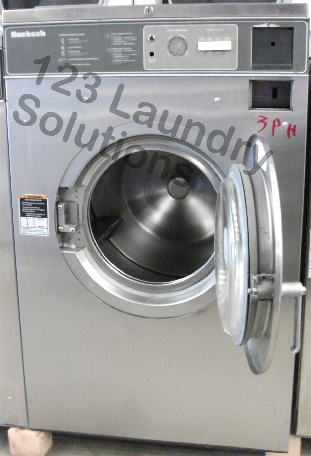 Coin Laundry Huebsch Front Load Washer 208-240v Stainless Steel HC35MD2OU2 0001 Used