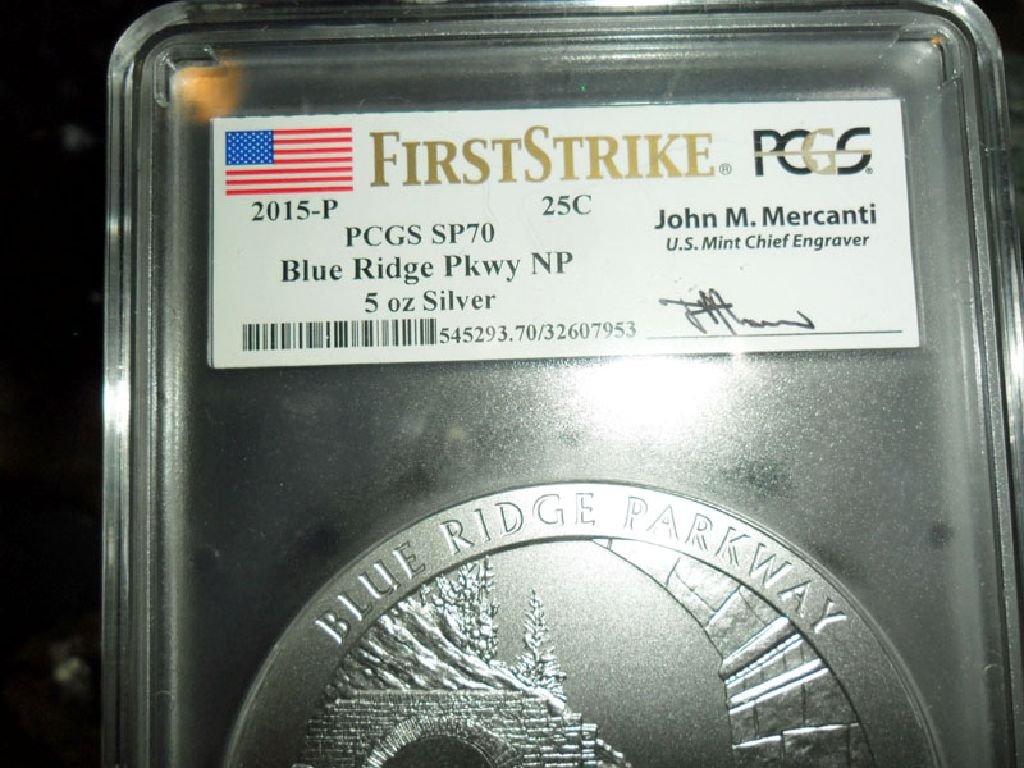 Exceptional and Beautiful 2015-P First Strike PCGS SP 70 BLUE RIDGE  NATIONAL PARK 5 oz. SILVER QUAR