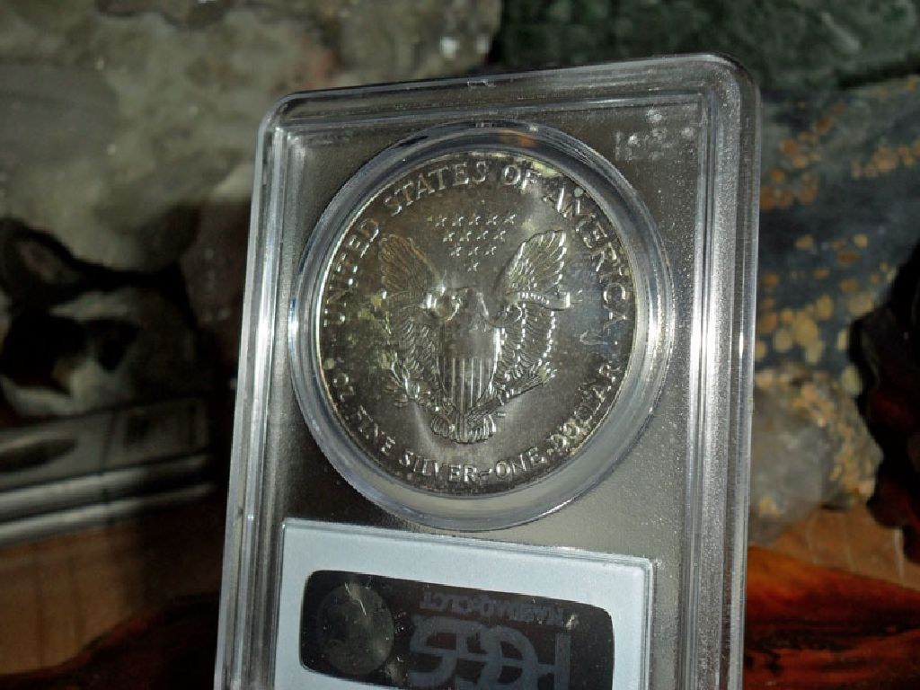 1993-P American Silver Eagle MS 68 PCGS Rainbow Tone on Edges Both Sides