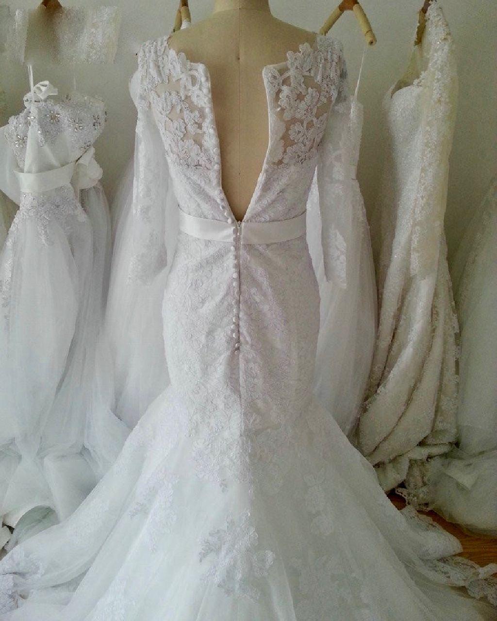 Skye's Mermaid Lace Long Sleeve Wedding Gown