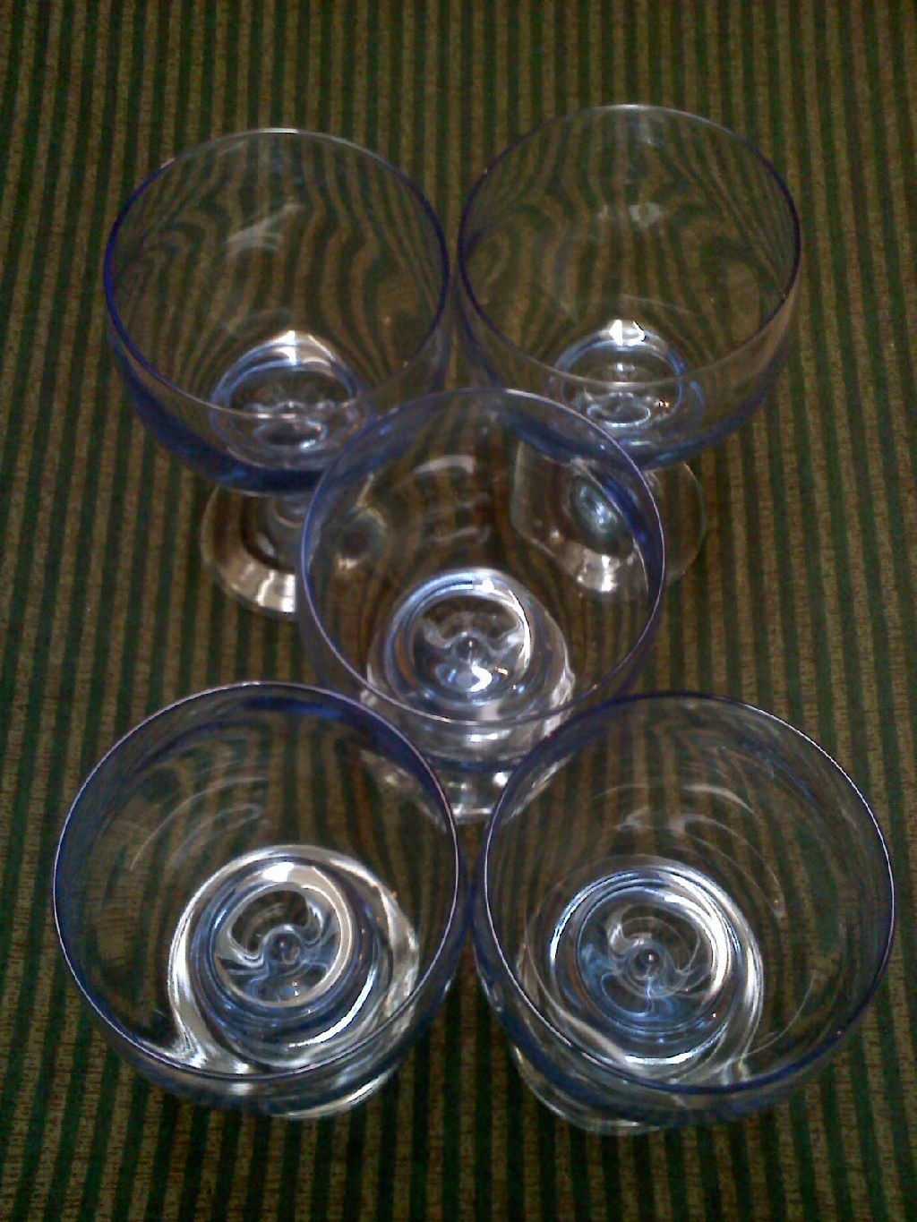 Five Vintage Blue Goblet Style Glasses
