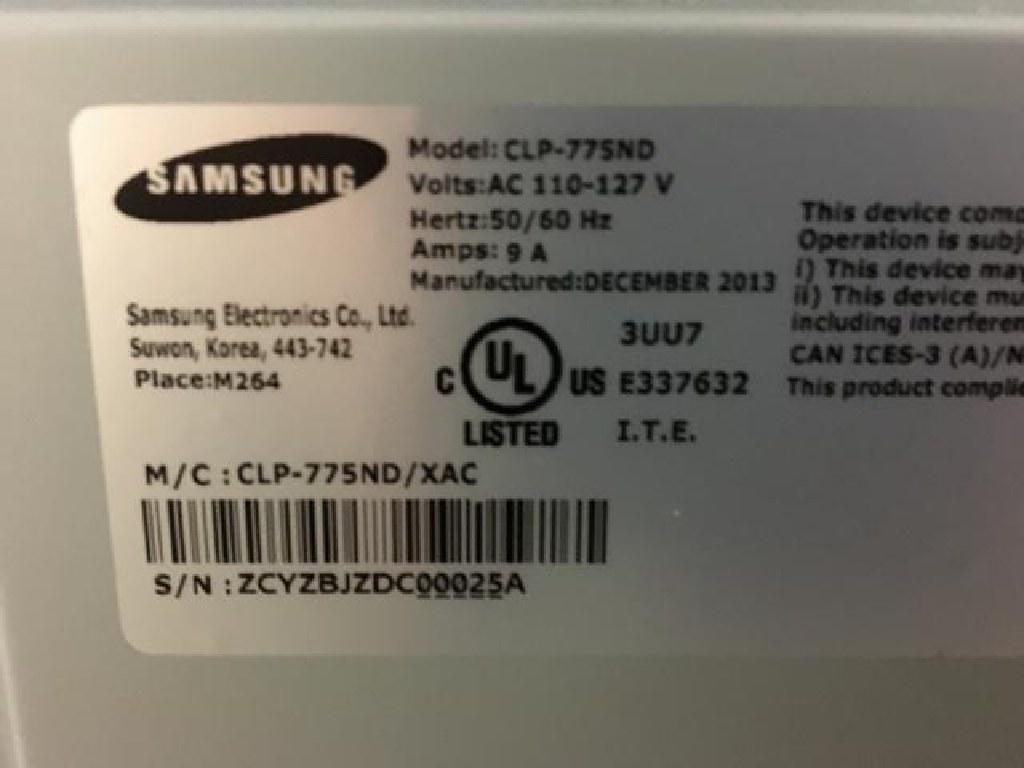 2013 Samsung Color Laser Printer RTR#6124969-02