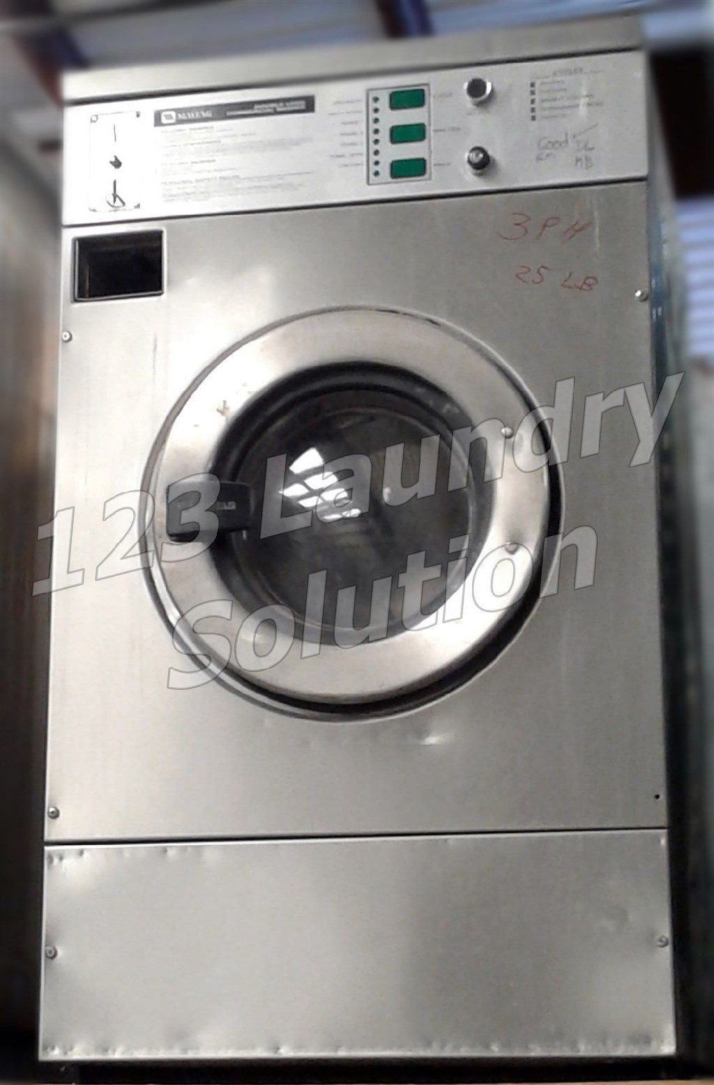 Coin Laundry Maytag Front Load Washer Coin Op 25LB MFR25PCAVS 3PH Stainless Steel Used