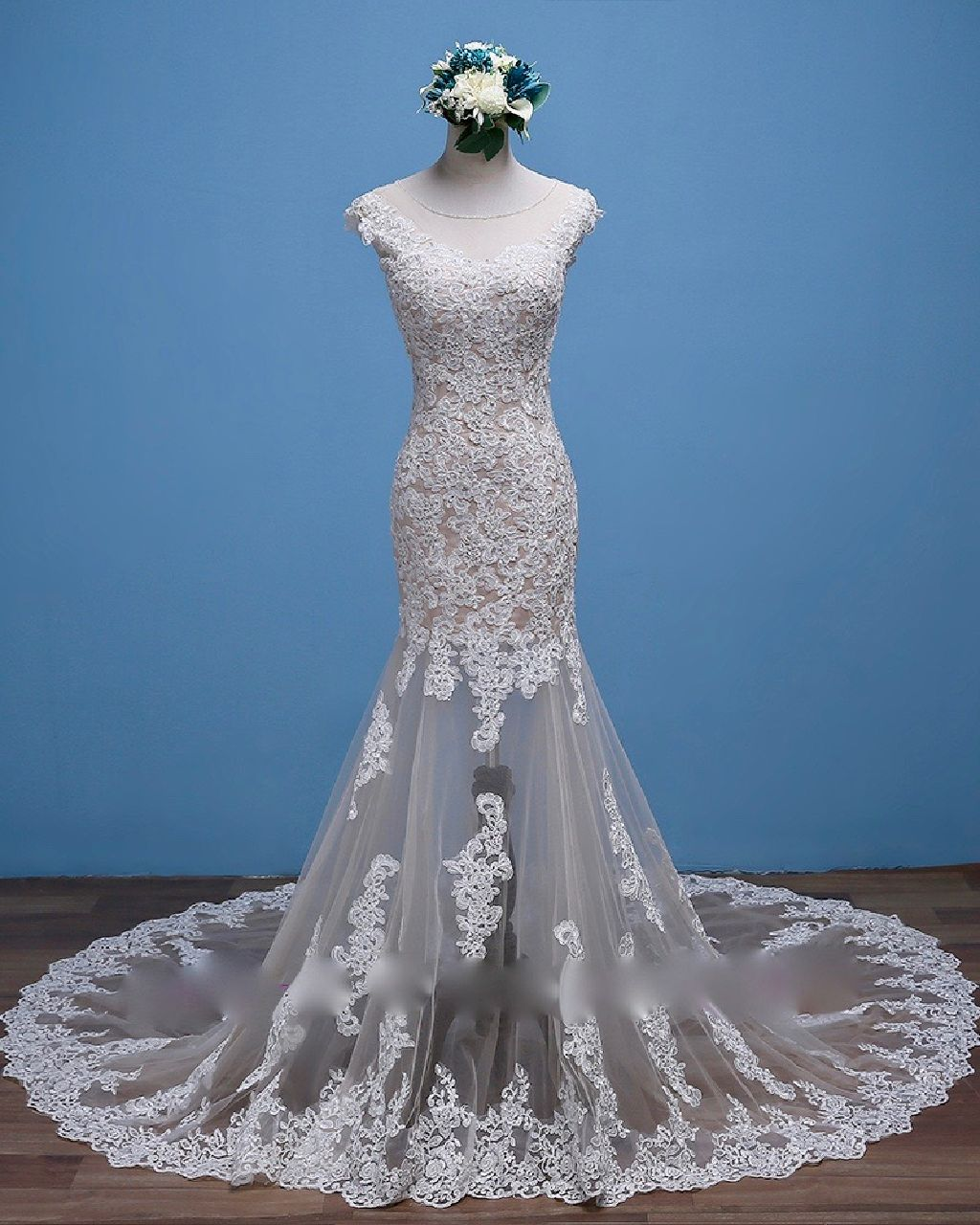Naomi's Mermaid Lace Cap Sleeve Wedding Gown With detachable Skirt
