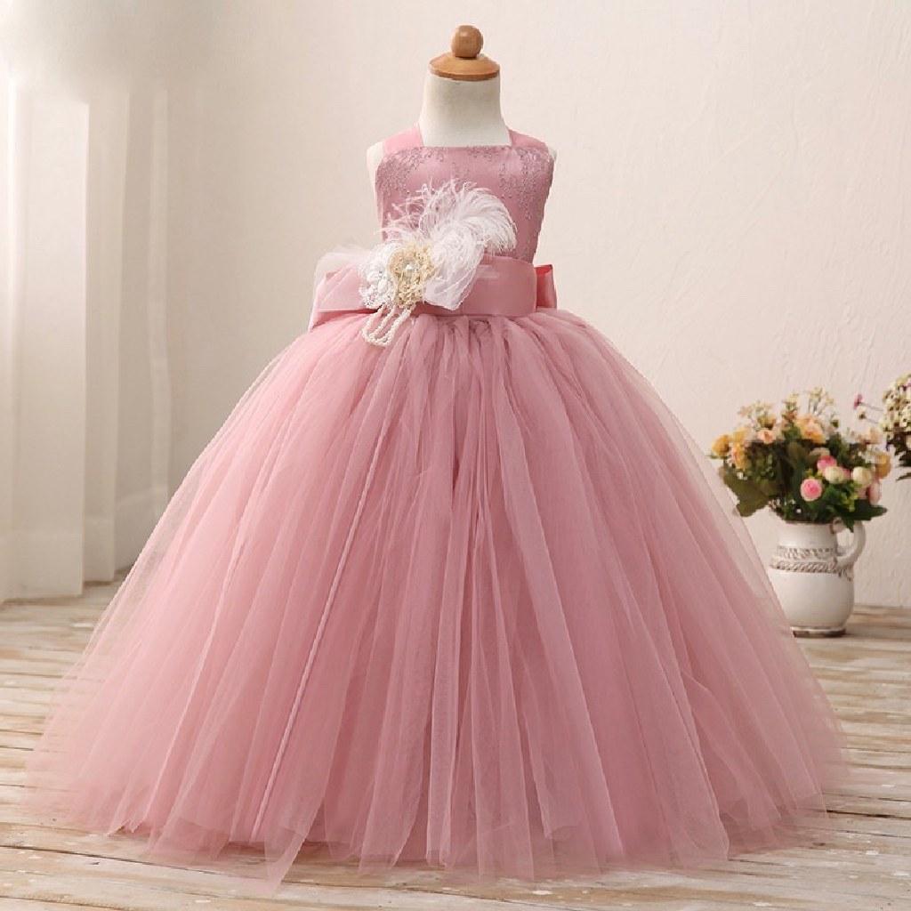 Elegant Champagne Flower Girl Tutu Dress 2T to 14