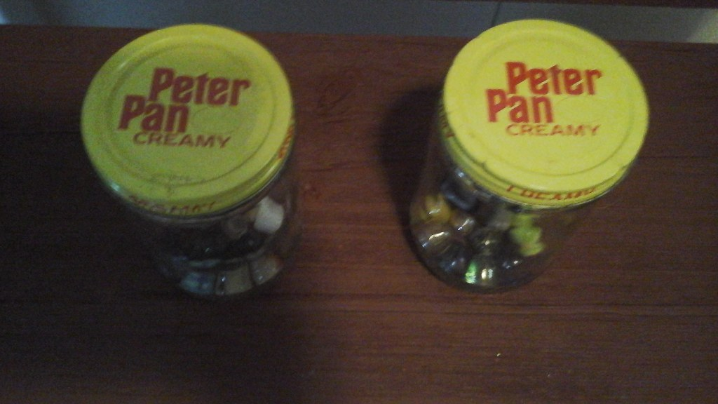 Vintage Peter Pan Jars With Marbles