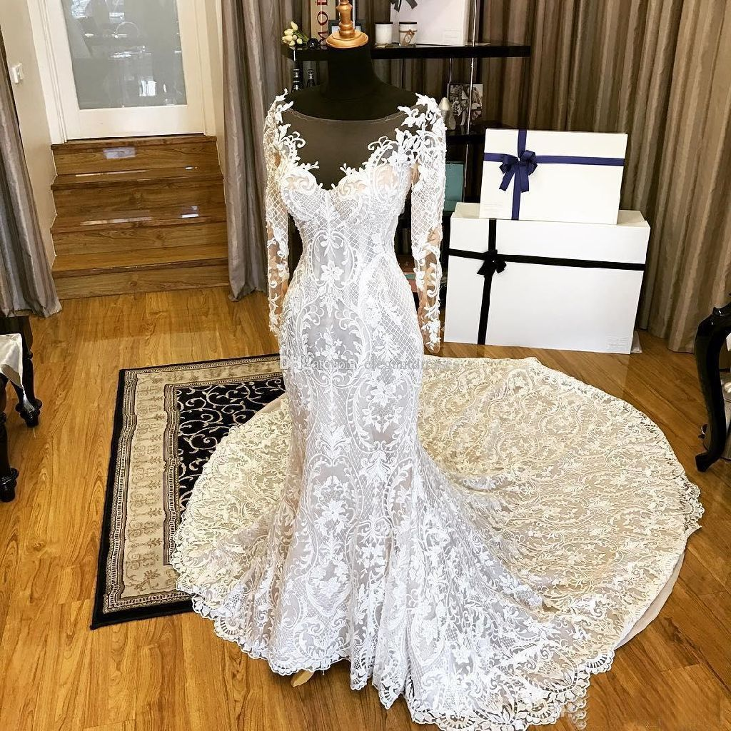 Margarette's Lace Sheath Long Sleeve Wedding Gown