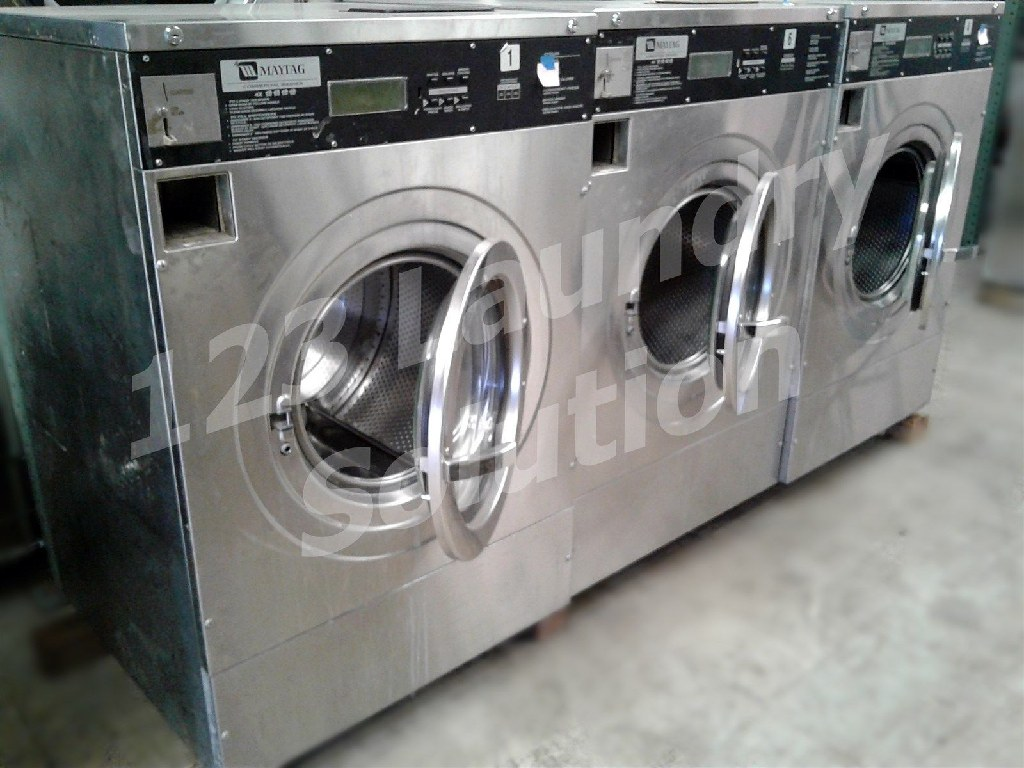 Coin Laundry Maytag Front Load Washer Coin Op 40LB MFR40PDCTS 1PH Stainless Steel Used