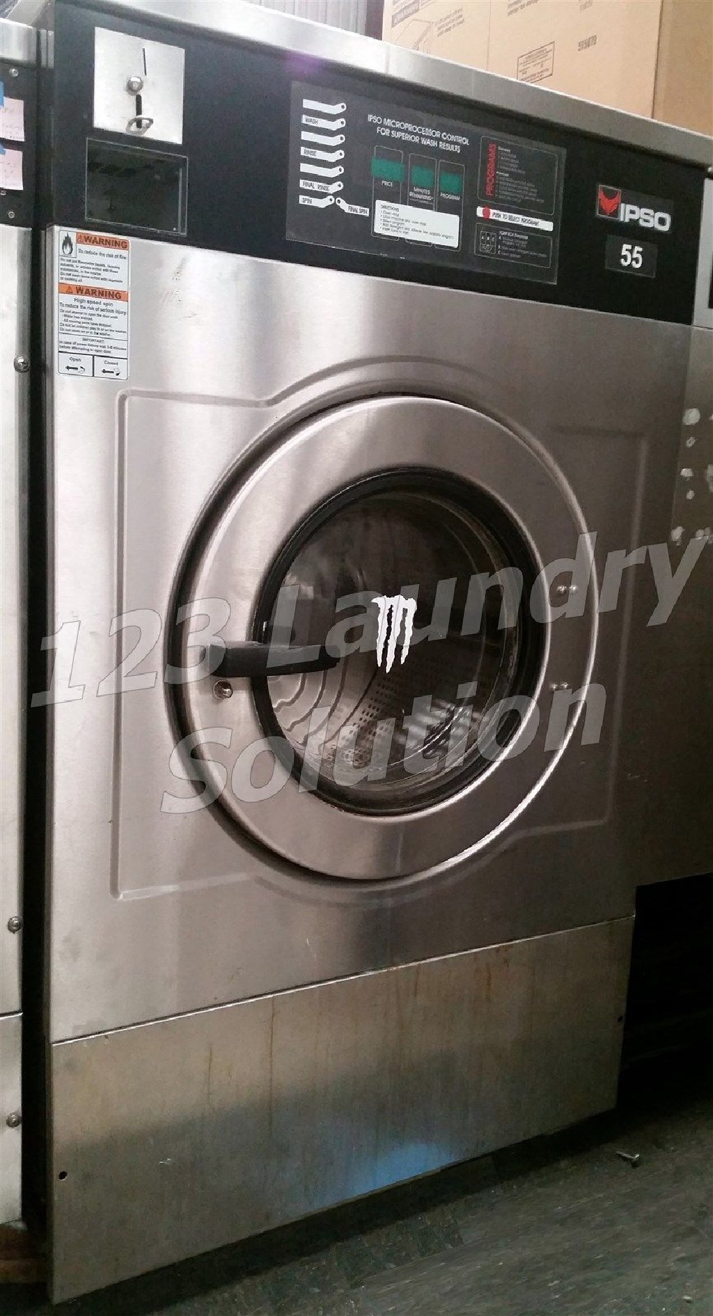 Coin Laundry IPSO Front Load Washer Coin-Op 55LB 1/3PH 220V IWF055MC2X 10U0 WF235C Used
