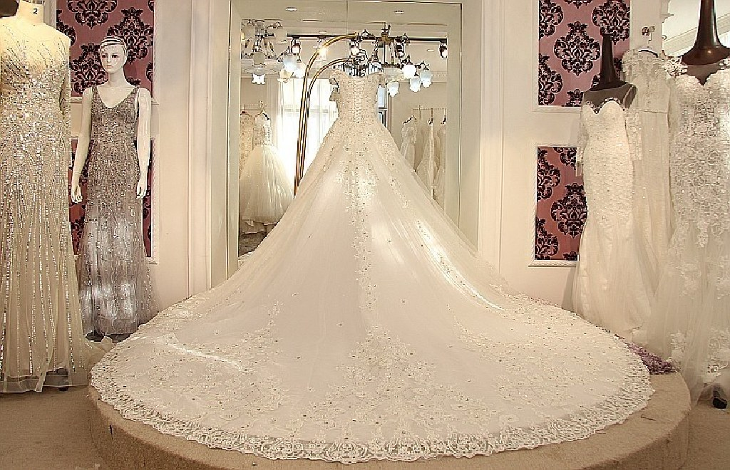 Isabelle's A Line White Lace Beading Wedding Gown