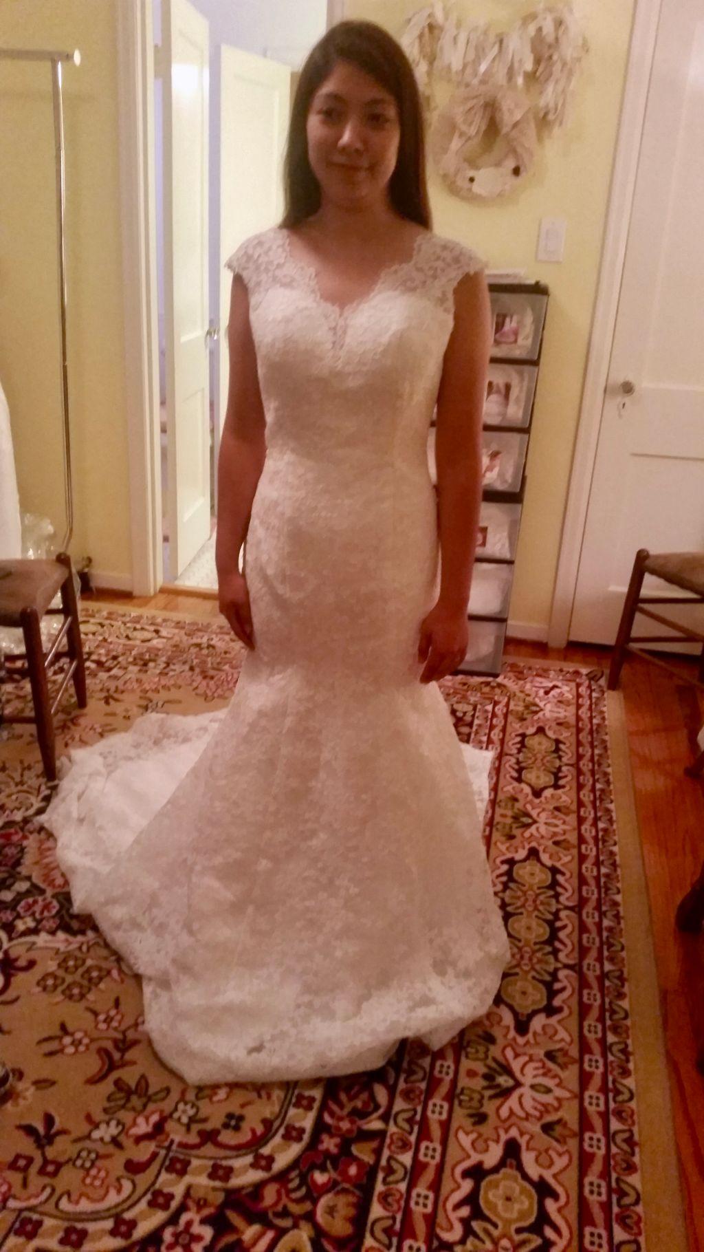 Kathleen's Lace Sheath V Neck Wedding Dress Size 22W