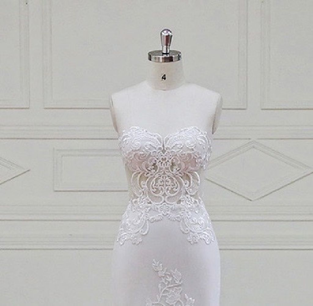 Caroline's Mermaid Lace Strapless Wedding Dress