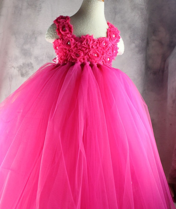 Hot Pink Flowers And Pearls Flower Girl Tutu Dress 2T-10