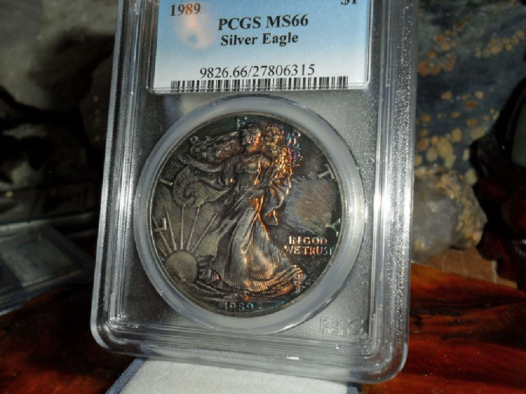 Beautiful 1989-P American Silver Eagle MS 66 PCGS MONSTER Rainbow Electric Blue Tone