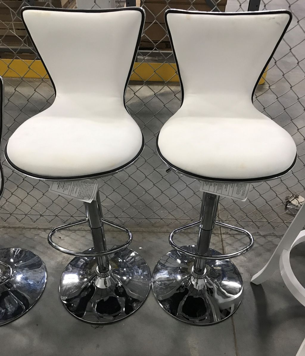 White Adjustable Bar Stool