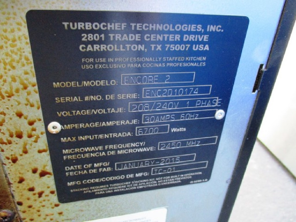 Turbochef Microwave Convection Model # ENCORE 2 RTR#6121214-02