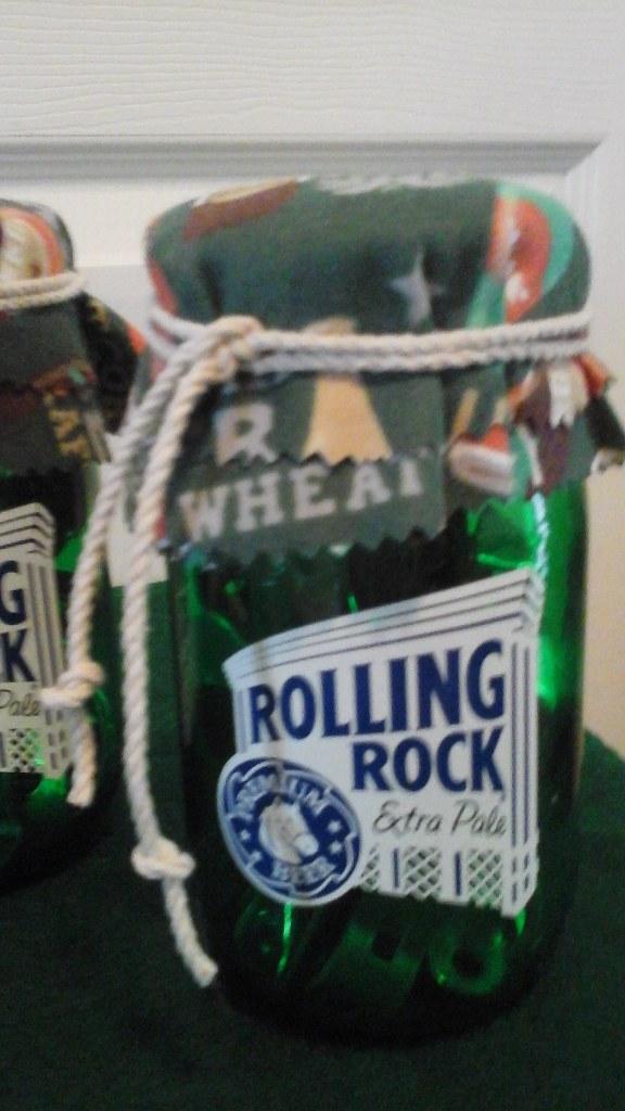 Rolling Rock Mason Glass Jars W/ Vintage Bottle Opens Inside