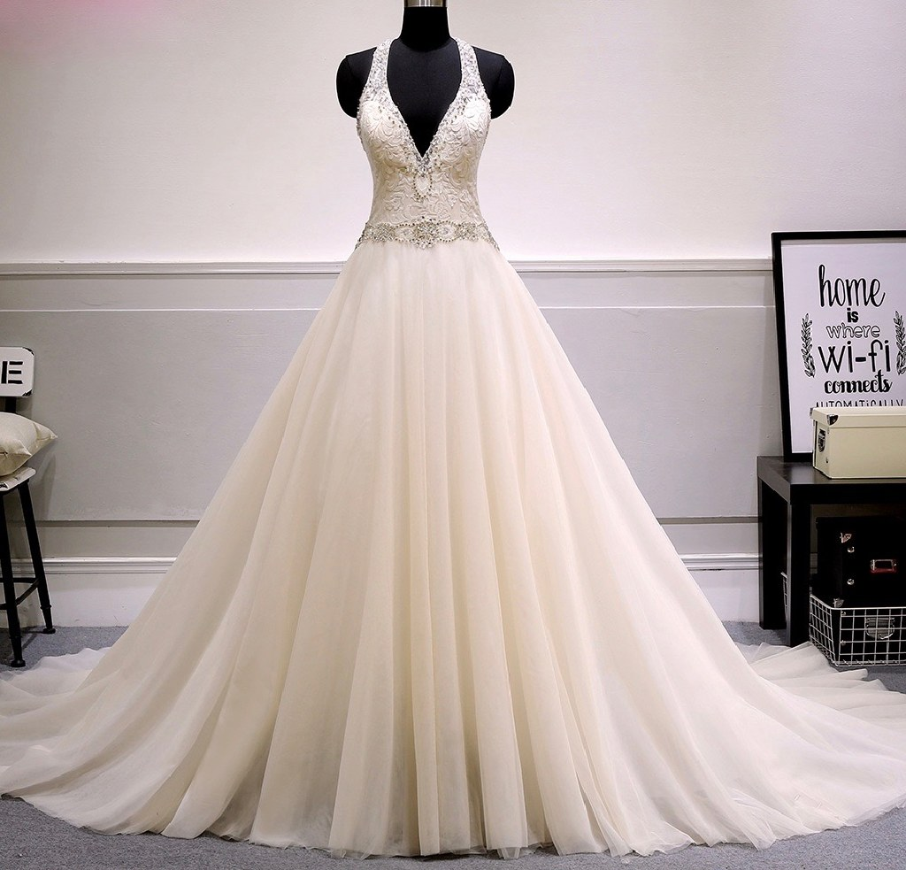 Grace's Tulle A Line Halter Wedding Gown