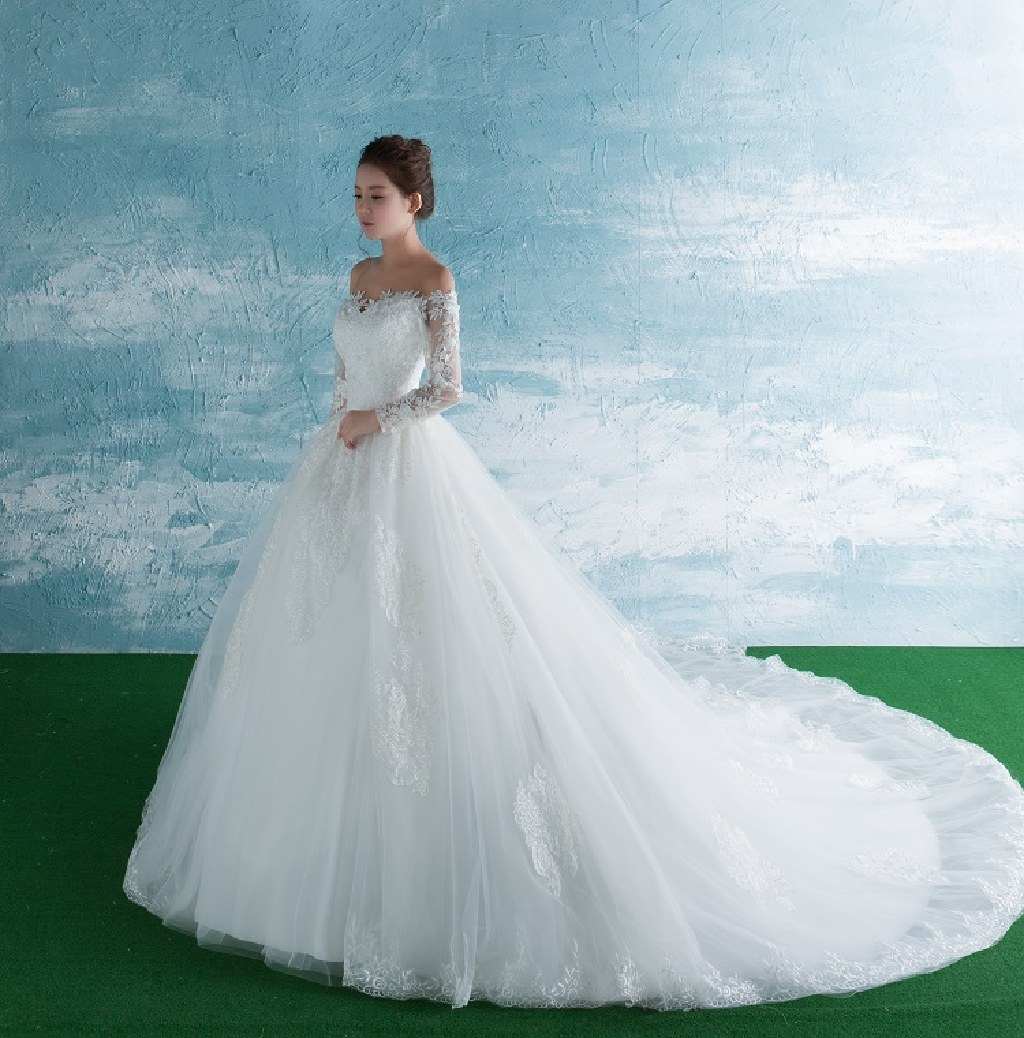 Jessica's A Line White Lace Beading Wedding Gown Without Train Size 16